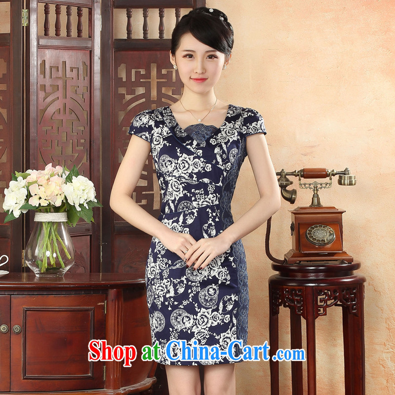 Oriental elite 2015 spring and summer new sexy lovely cheongsam dress, embroidery improved retro dresses daily stamp dresses 424,124 dark blue L