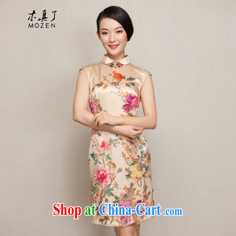 Wood is really the female 2015 spring and summer new Chinese painting beauty short cheongsam stylish dresses 43,020 12 deep yellow XXL B ( )