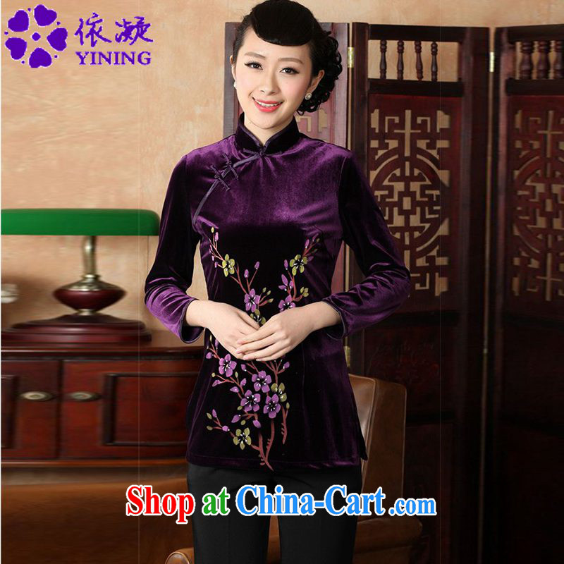 According to fuser new female Ethnic Wind improved Chinese Chinese qipao, for a tight hand-painted 9 cuff Chinese T-shirt LGD/A 0065 #3 purple XL