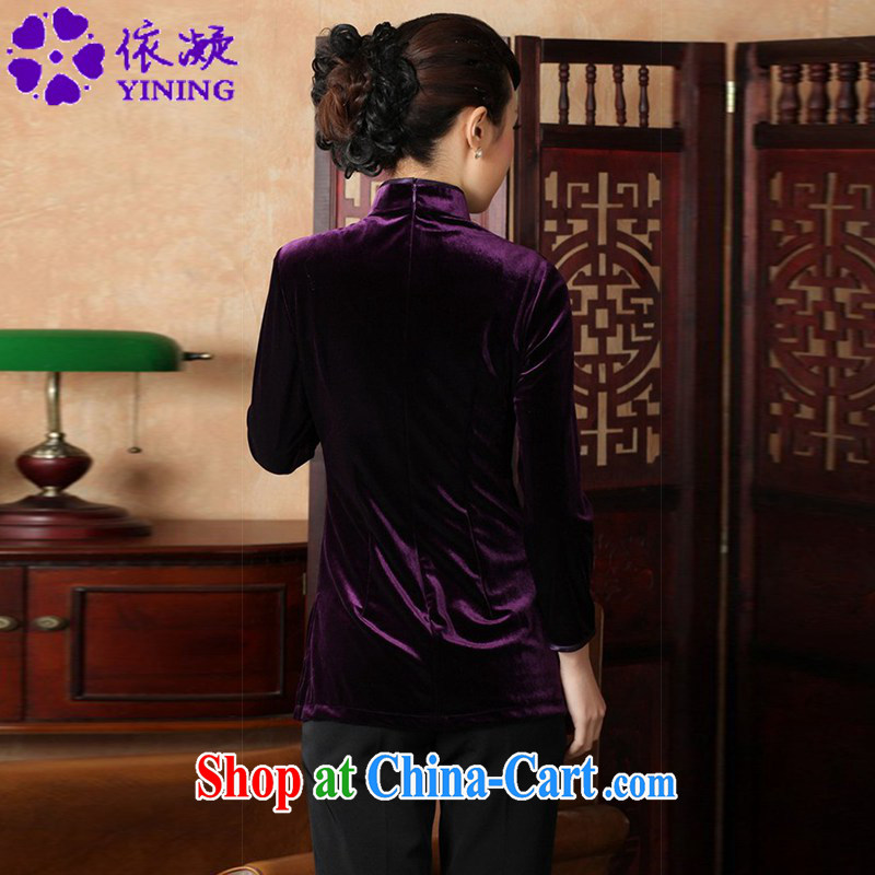 According to fuser new female Ethnic Wind improved Chinese Chinese qipao, for a tight hand-painted 9 cuff Chinese T-shirt LGD/A 0065 #3 purple XL, according to fuser, shopping on the Internet