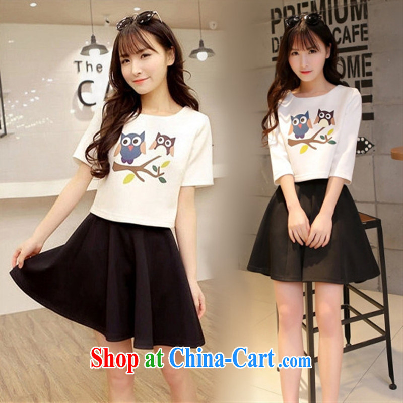 Ya-ting store 2015 spring new Korean female beauty graphics thin 7 cuffs two-piece canopy skirts dresses girls in white cuff XL