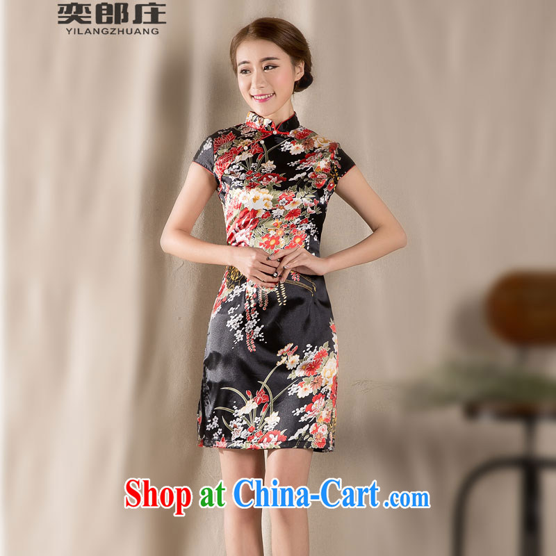 Sir David WILSON, Zhuang 2015 new spring and summer with a short-sleeved Chinese qipao refined antique China wind women's clothing dresses Z 1227 fancy M