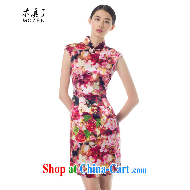 Wood is really the female 2015 spring and summer New Rose poster beauty short cheongsam stylish dresses 19 21,957 light pink XXXL
