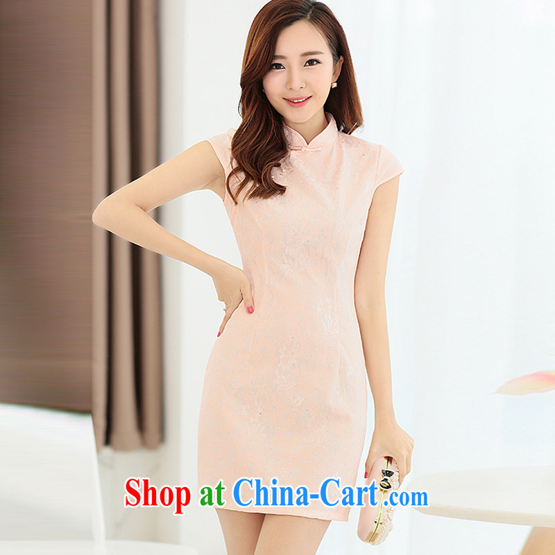 Yi's 2015 country girl with new XL Ethnic Wind Chinese Chinese high-end elegant antique style beauty video thin package and cheongsam dress pink M
