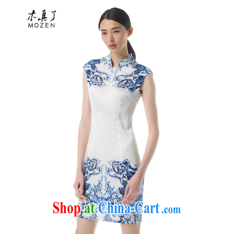 Wood is really the female 2015 spring and summer with new blue and white porcelain stamp beauty short cheongsam stylish dresses 42,846 02 pure white XXL A ( )