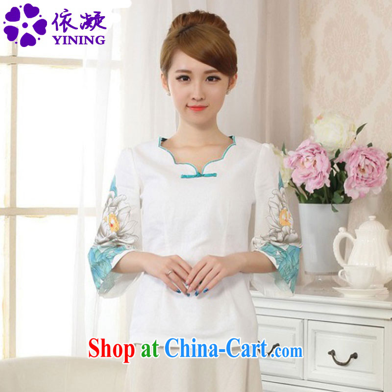 According to fuser new women with hand-painted horn cuff improved Chinese qipao linen Chinese Ethnic Wind Chinese shirt LGD/A #0066 figure S
