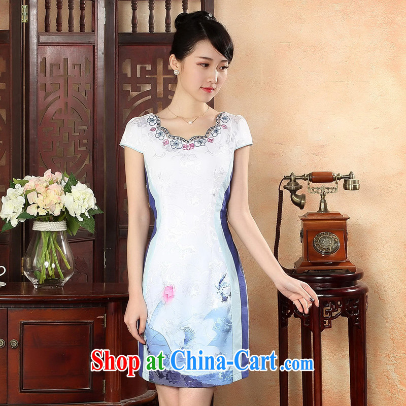 Oriental elite 2015 spring and summer new clothes and fresh Chinese wind cheongsam dress improved daily short cheongsam stamp dresses 424,195 blue XXL