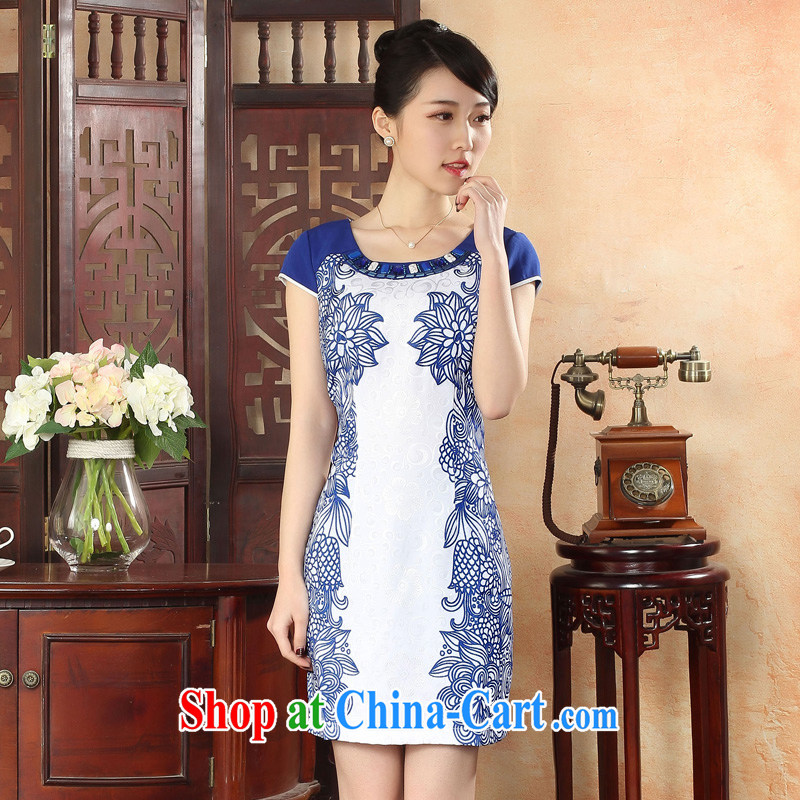 Oriental elite 2015 spring and summer New Beauty video thin elegant cheongsam dress female finisher drill embroidery floral short cheongsam dress royal blue XXL
