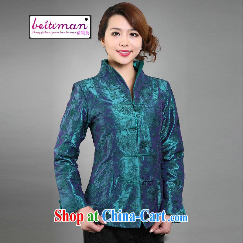 Mrs Ingrid sprawl economy 2015 girls, Chinese Ethnic Wind improved embroidery natural online female long-sleeved T-shirt green XXXL