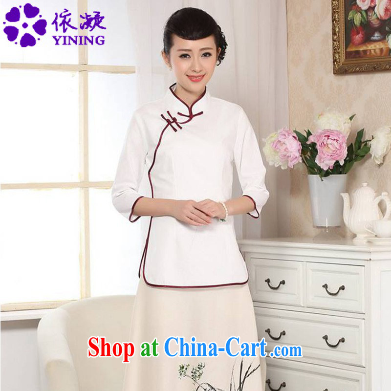 According to fuser new female retro ethnic wind improved Chinese qipao, for a tight Classic tray for cultivating 7 cuff Tang Replace T-shirt LGD_A 0070 white 2XL