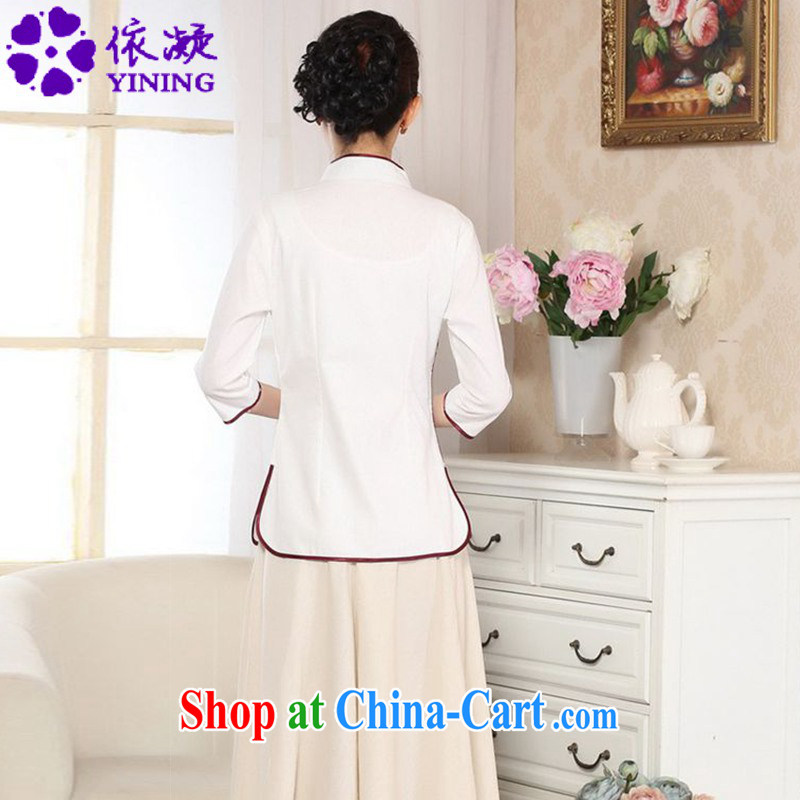 According to fuser new female retro ethnic wind improved Chinese qipao, for a tight Classic tray for cultivating 7 sub-cuff Tang on T-shirt LGD/A 0070 white 2XL, fuser, and shopping on the Internet