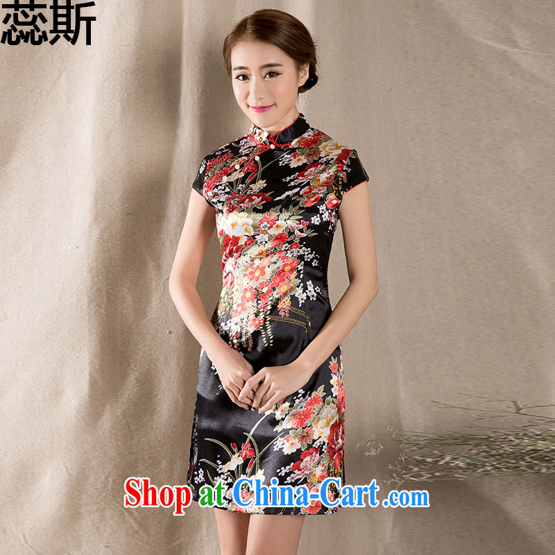 The acajou _summer 2015 new female short-sleeve Chinese qipao refined antique China wind dresses Z 1227 fancy XXL