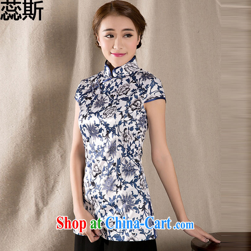 The acajou _summer 2015 new ethnic Chinese improved cheongsam shirt cultivating cotton Ms. Yau Ma Tei Chinese Z 1231 fancy XXL