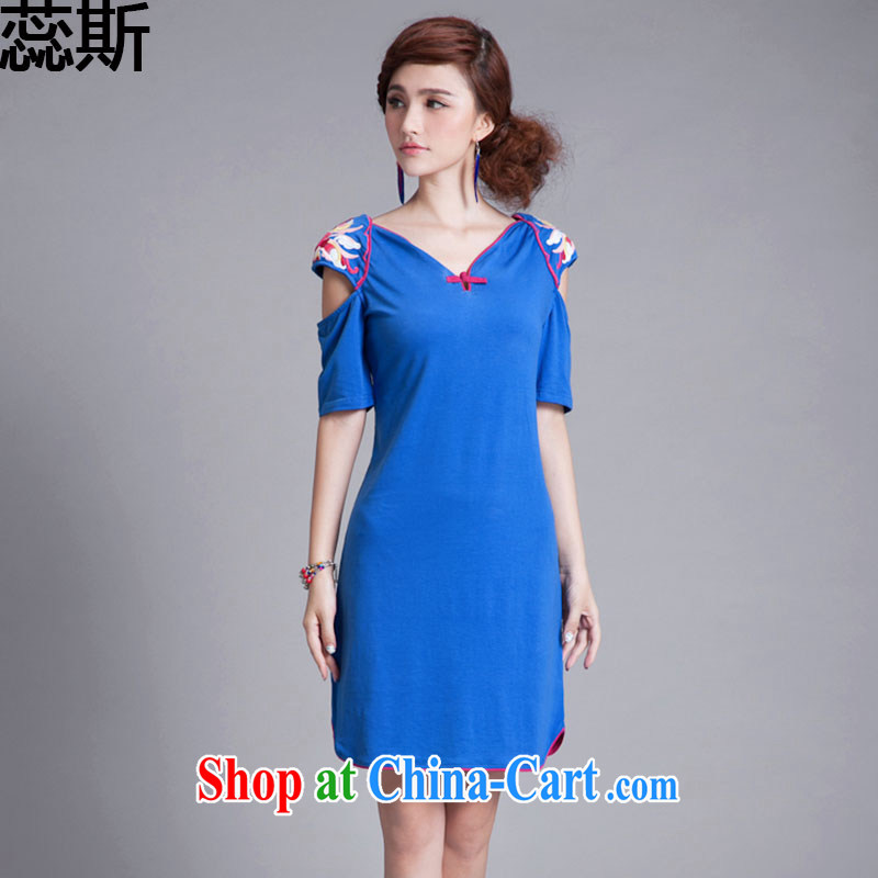 The acajou _summer 2015 new embroidered ultra-slim body curved, with dresses women 8866 blue XXL