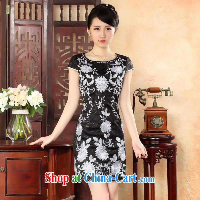 Oriental elite 2015 spring and summer new elegant embroidery improved short cheongsam dress everyday floral skirt 564,119 black XXL