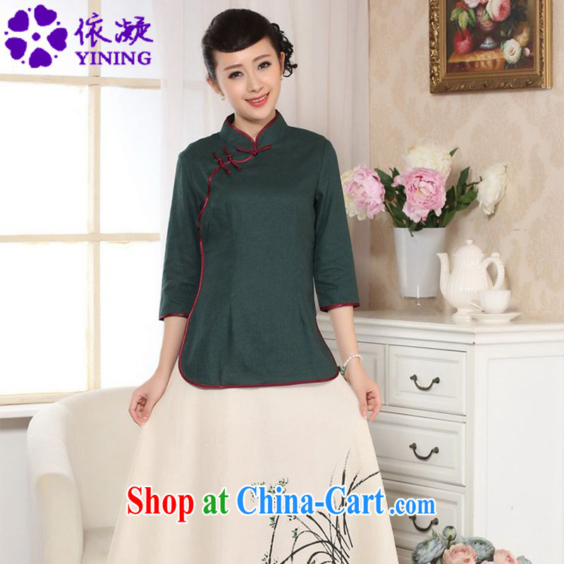 According to fuser new female Chinese improved daily Chinese qipao, for a tight retro-snap 7 cuff Chinese T-shirt LGD_A 0071 dark green _2 XL