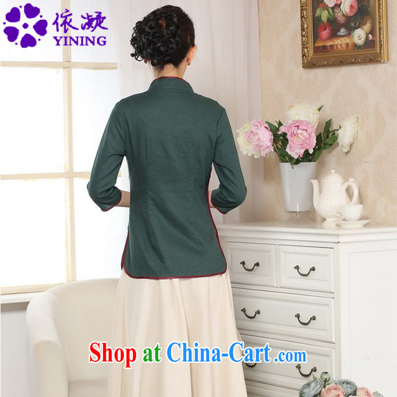 In accordance with fuser new female Chinese improved daily Chinese qipao, for a tight retro-tie score of 7 short sleeve T-shirt with LGD/A 0071 dark green #2 XL, fuser, and shopping on the Internet