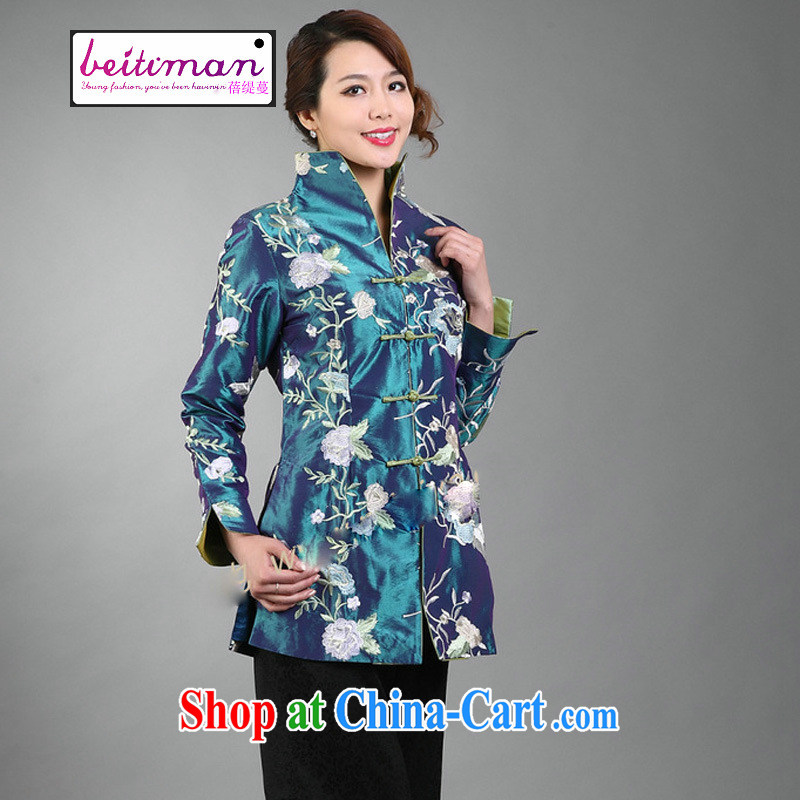 Mrs Ingrid economy Ms. vines into beautiful embroidered clothes can turn the collar Tang with long-sleeved wind jacket green XXXL