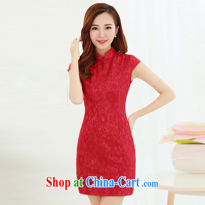 2015 female new XL Ethnic Wind Chinese Chinese high-end elegant antique style beauty video thin package and cheongsam dress red M