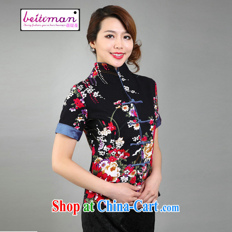 Mrs Ingrid economy sprawl new ethnic wind Tang mounted retro summer-tie cotton mA short-sleeve Chinese improved cheongsam shirt larger female black XXXL