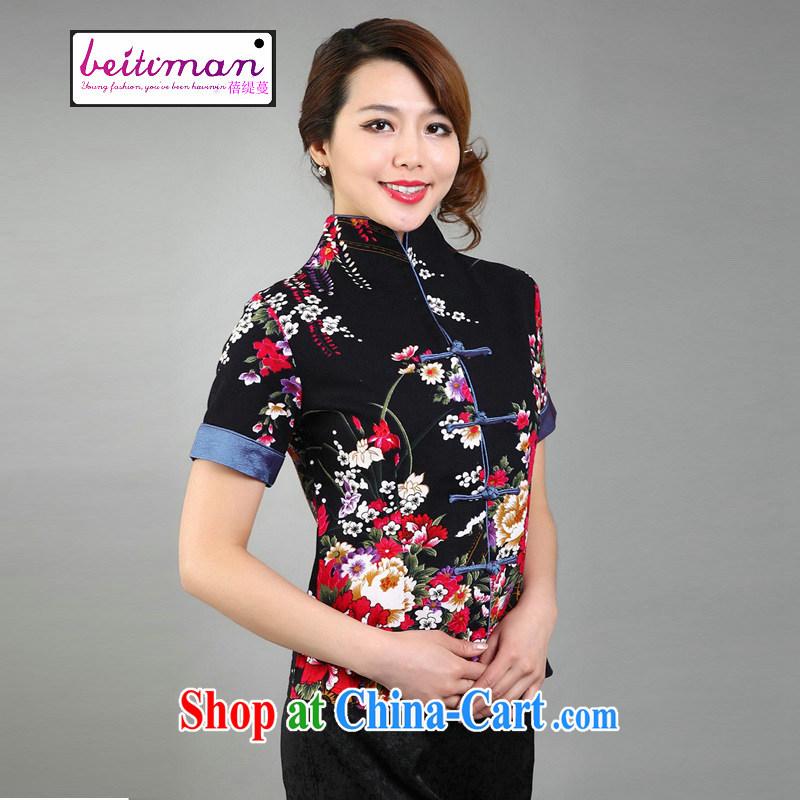 Mrs Ingrid economy sprawl new ethnic wind Tang mounted retro summer-tie cotton mA short-sleeve Chinese improved cheongsam shirt larger female black XXXL