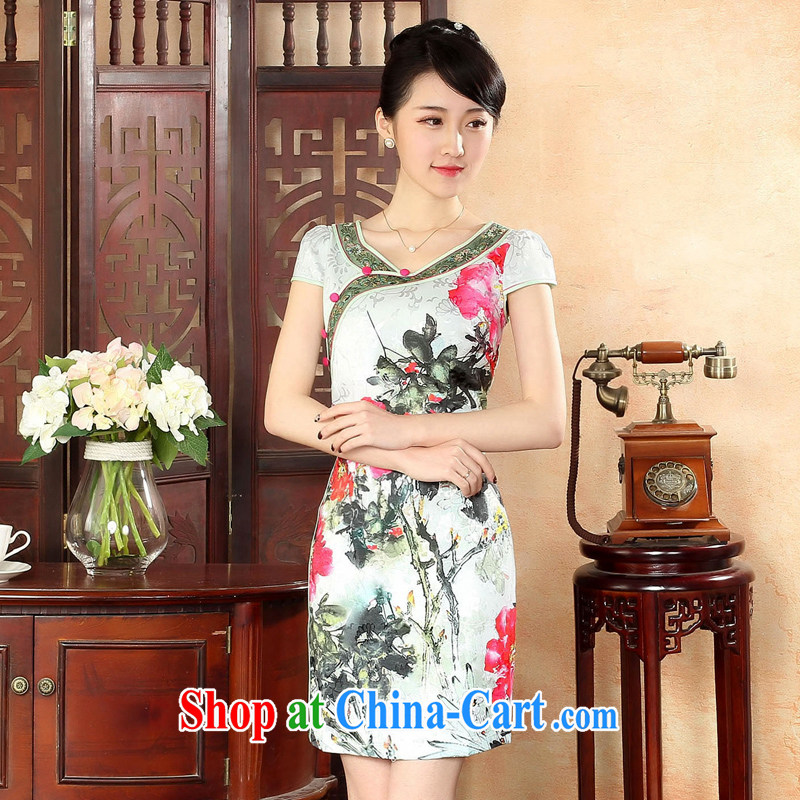 Oriental elite 2015 spring and summer new painting cheongsam dress embroidery improved short dresses retro China wind stamp dresses 564,135 green XL
