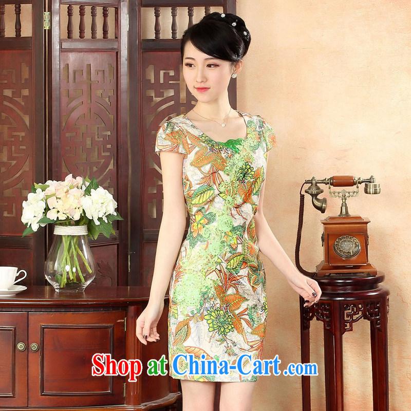 Oriental elite 2015 spring and summer new stamp cheongsam dress embroidery elegant short cotton dresses ethnic wind dresses 564,140 green XXL