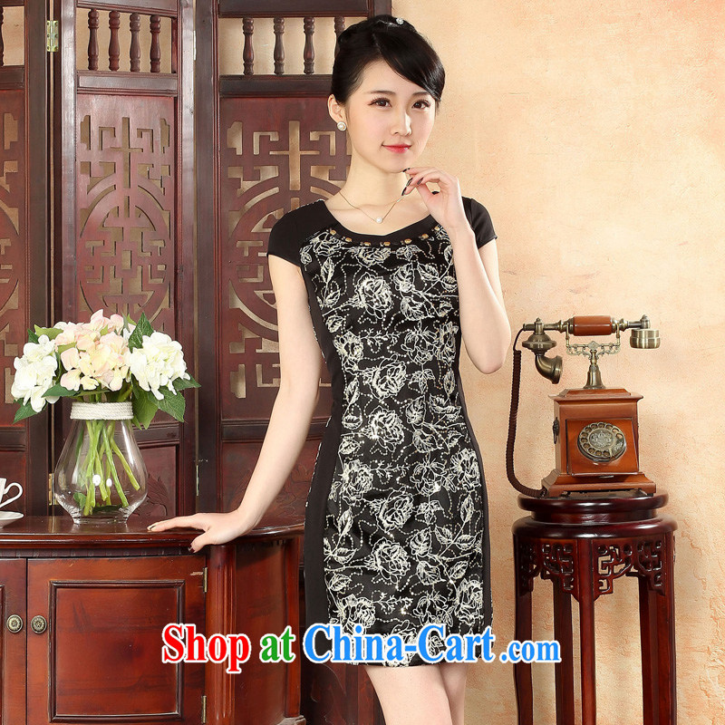 Oriental elite 2015 spring and summer new female noble sexy cheongsam dress short daily embroidery improved dresses 564,415 black XXL