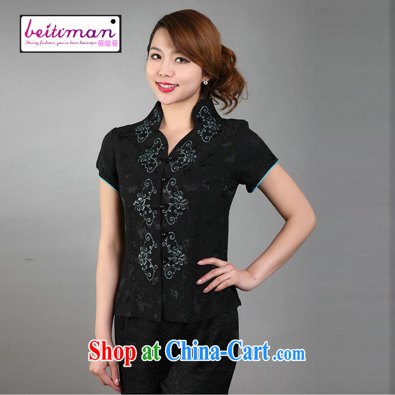 Mrs Ingrid vines into long overdue female summer new ethnic wind female embroidery, short-sleeved shirt T black XXXL