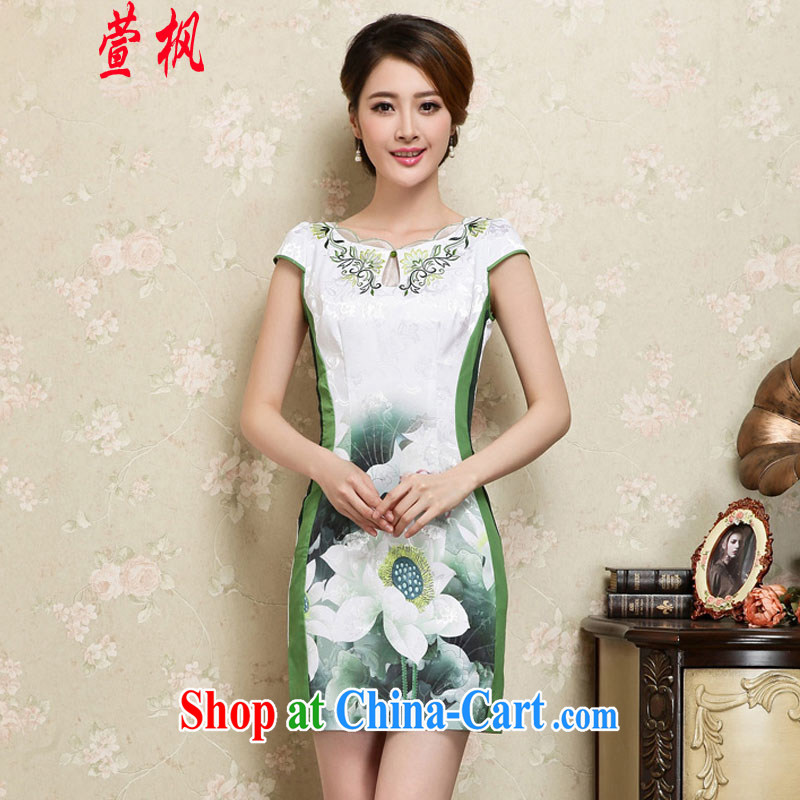 XUAN FENG 2015 summer new Korean Beauty lace collar beautiful lotus stamp stylish retro dress short-sleeved qipao dresses green XXL