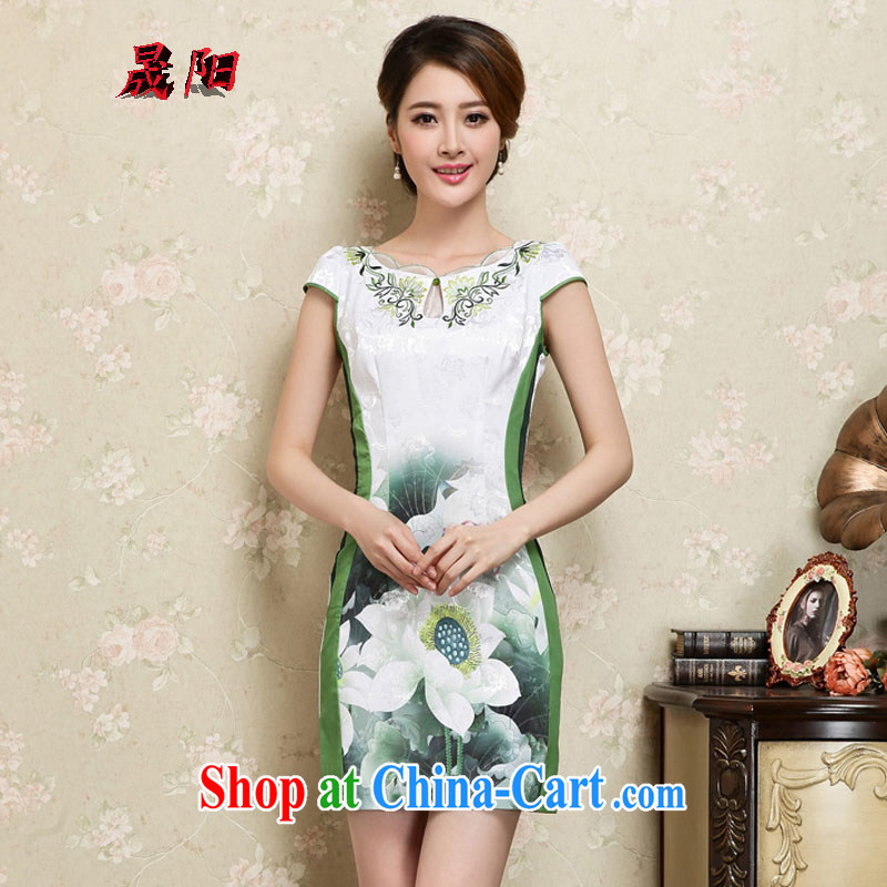 Sung Yang 2015 summer new Korean Beauty lace collar beautiful lotus stamp stylish retro dress short-sleeve cheongsam dress green XXL