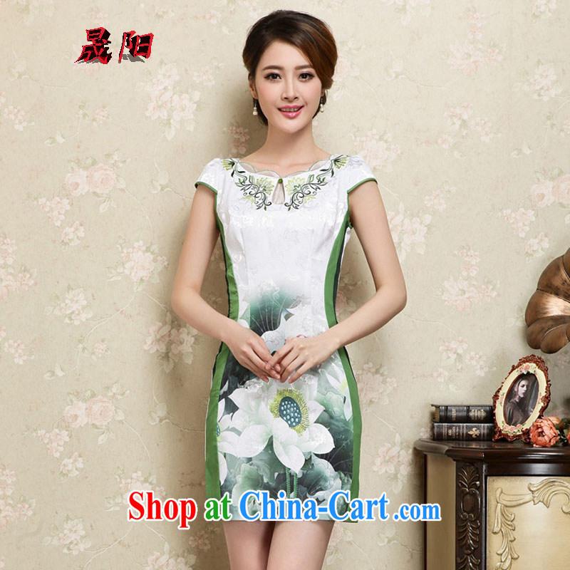 Sung Yang 2015 summer new Korean Beauty lace collar beautiful lotus stamp stylish retro dress short-sleeve cheongsam dress green XXL