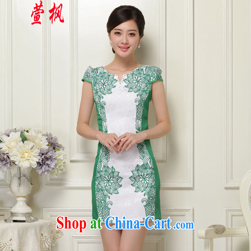 XUAN FENG 2015 summer new Korean Beauty does not rule V for digital stamp stylish women's clothing retro short sleeve cheongsam dress green XXL