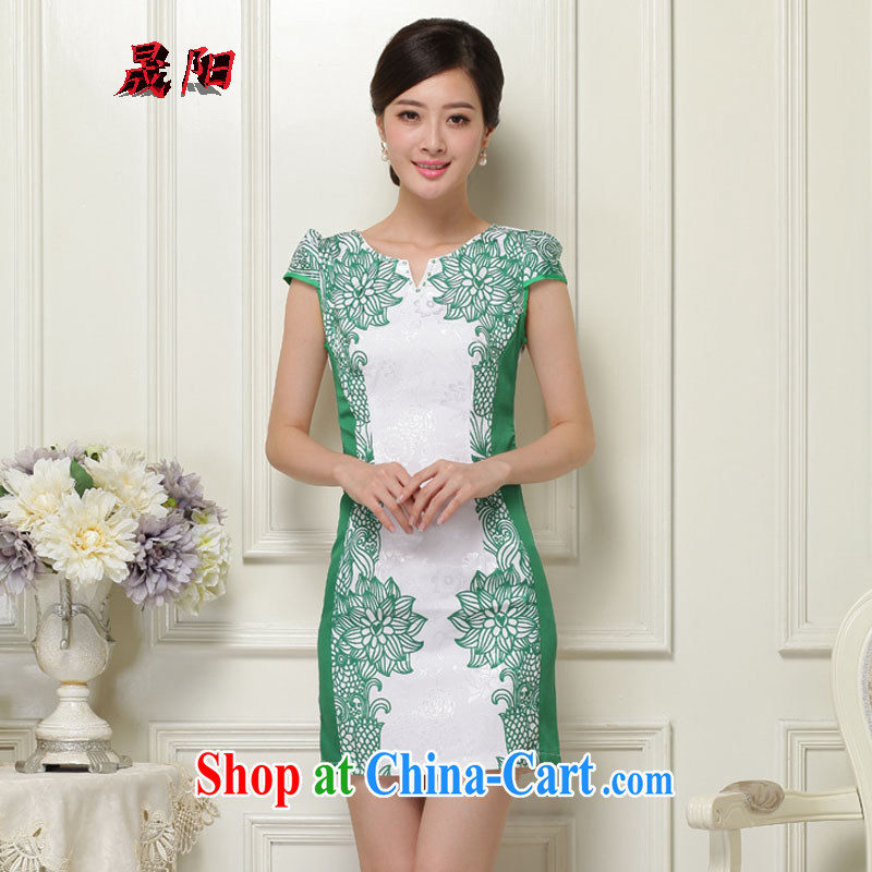 Sung Yang 2015 summer new Korean Beauty does not rule V for digital stamp stylish women's clothing retro short sleeve cheongsam dress green XXL