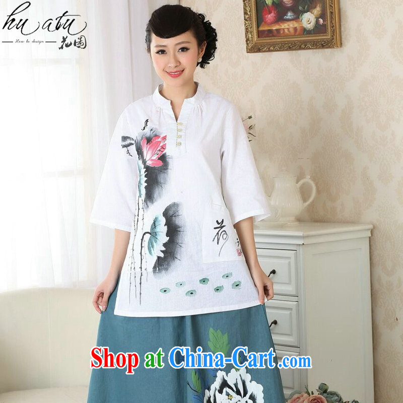Take the hand-painted dresses T-shirt Han-chinese improved, for cotton the Ethnic Wind summer new blouses Tang single T-shirt 3XL