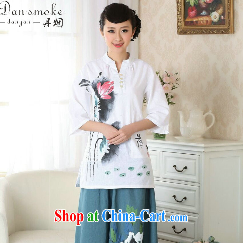 Dan smoke-free hand-painted dresses T-shirt Han-chinese improved, for cotton the ethnic wind summer new blouses Tang single T-shirt 3XL