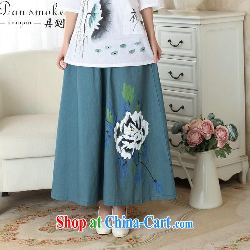 Dan smoke female new summer China wind retro-bag Elasticated waist large long skirt cotton Ma hand-painted body skirts women's single greatest swing skirt M