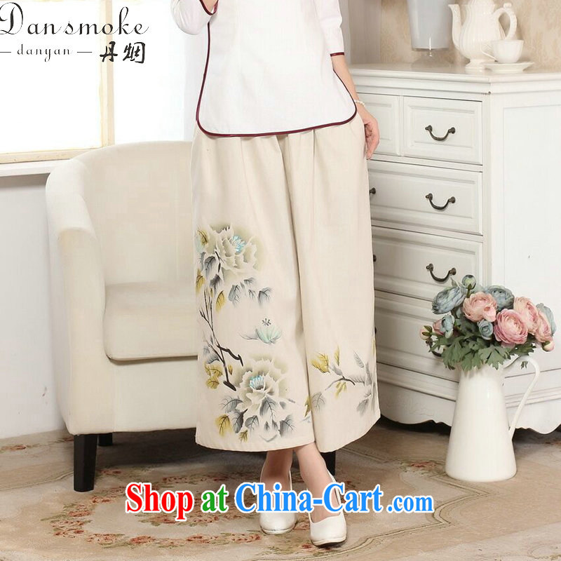 Bin Laden smoke Tang replace loose Ethnic Wind female Trouser press summer new women the commission cotton pants Wide Leg pants hand-painted Tang 9 pants as shown color L