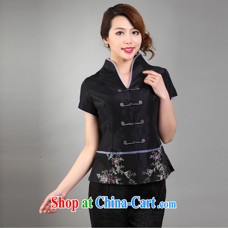 Summer Chinese female fashion improved cheongsam shirt Tang is a short-sleeved T-shirt pearl-short black XXXL