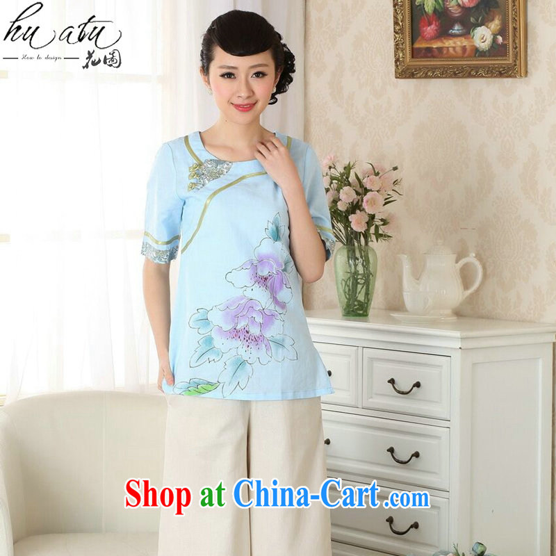 spend the summer new female cheongsam shirt cotton the Chinese Ethnic Wind round-collar-ties improved Han-hand-painted Chinese single T-shirt 2XL