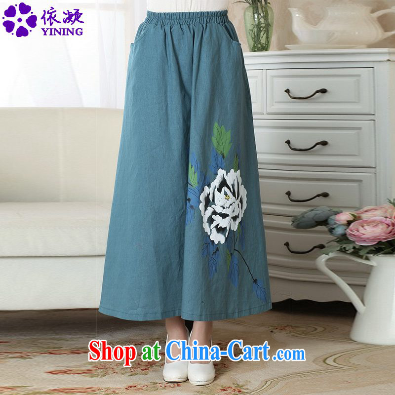 According to fuser new female Chinese wind retro-bag elasticated waist large long skirt hand-painted Chinese Dress bust LGD_P _0010 figure M