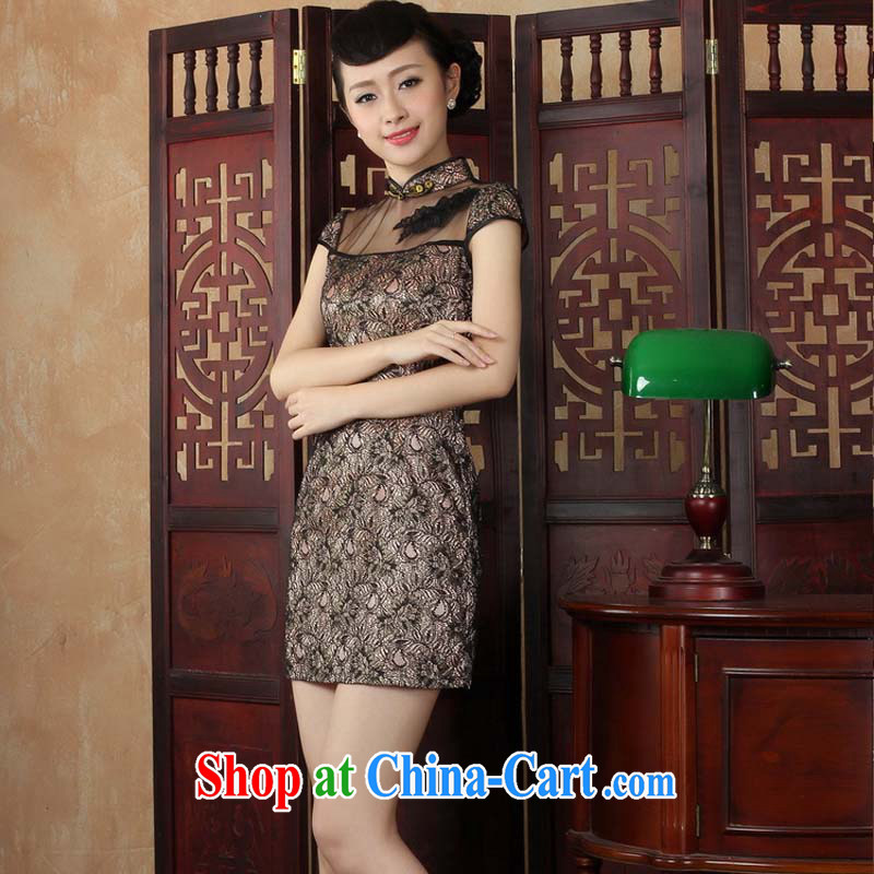 The stylish and refined lace dresses 2015 new elegant and short, daily cheongsam dress black XXL