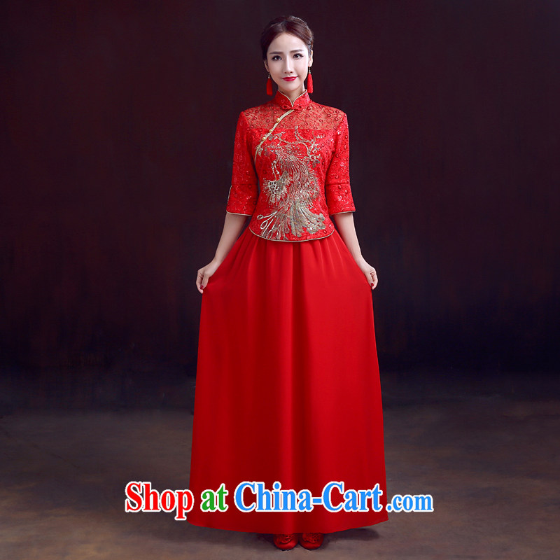 Dumping the married Yi wedding dresses 2015 new spring 7 cuffs dresses Peacock embroidery snow woven 2-piece set toast wedding dress red XXL