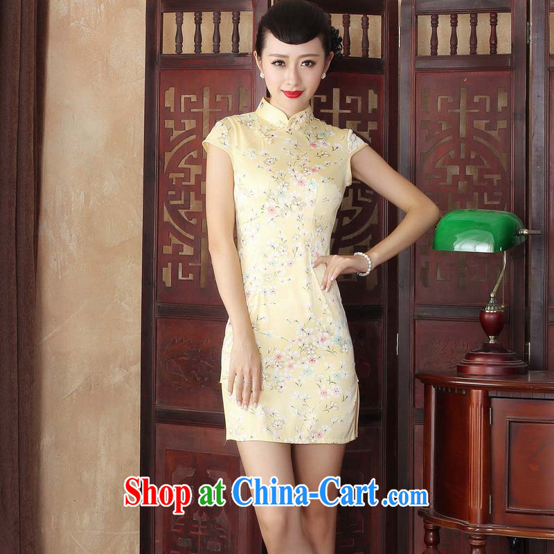 The 2015 summer retro upscale Silk Cheongsam cheongsam dress Stylish retro improved cheongsam dress beauty dresses yellow XXL