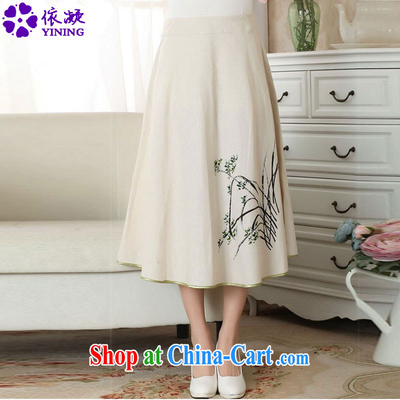 To fuser summer female new 100 ground National wind cotton Ma hand-painted body skirts Tang women A field skirt LGD/P #0011 figure XL