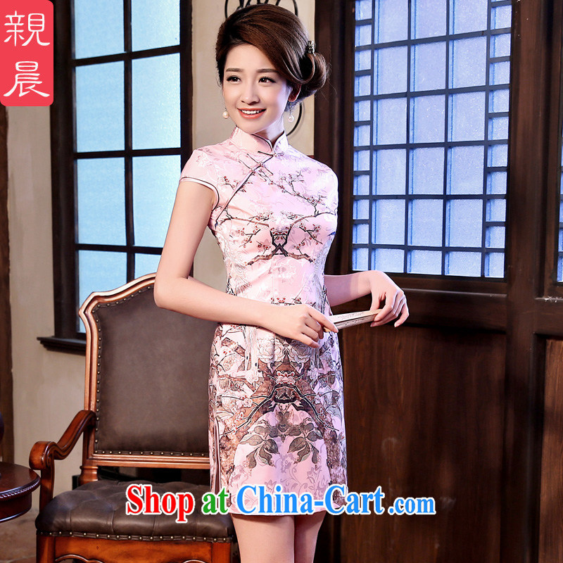 The pro-am 2015 as soon as possible new-cultivating short retro traditional Ethnic Wind everyday dress cheongsam dress short-sleeved 2XL