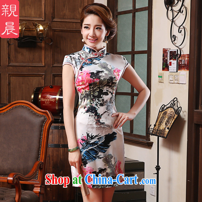 The pro-am 2015 as soon as possible new Everyday Women's clothing new short-retro Ethnic Wind beauty cheongsam dress short-sleeved L