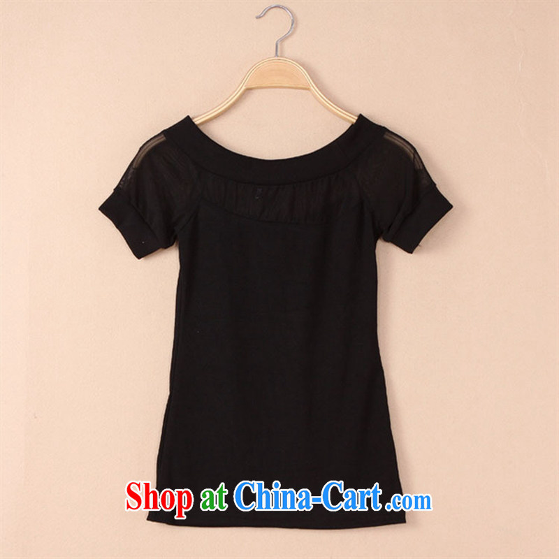Ya-ting store spring 2015 new female Korean sexy graphics thin a field for your shoulders knitting Web yarn stitching T shirt black one size