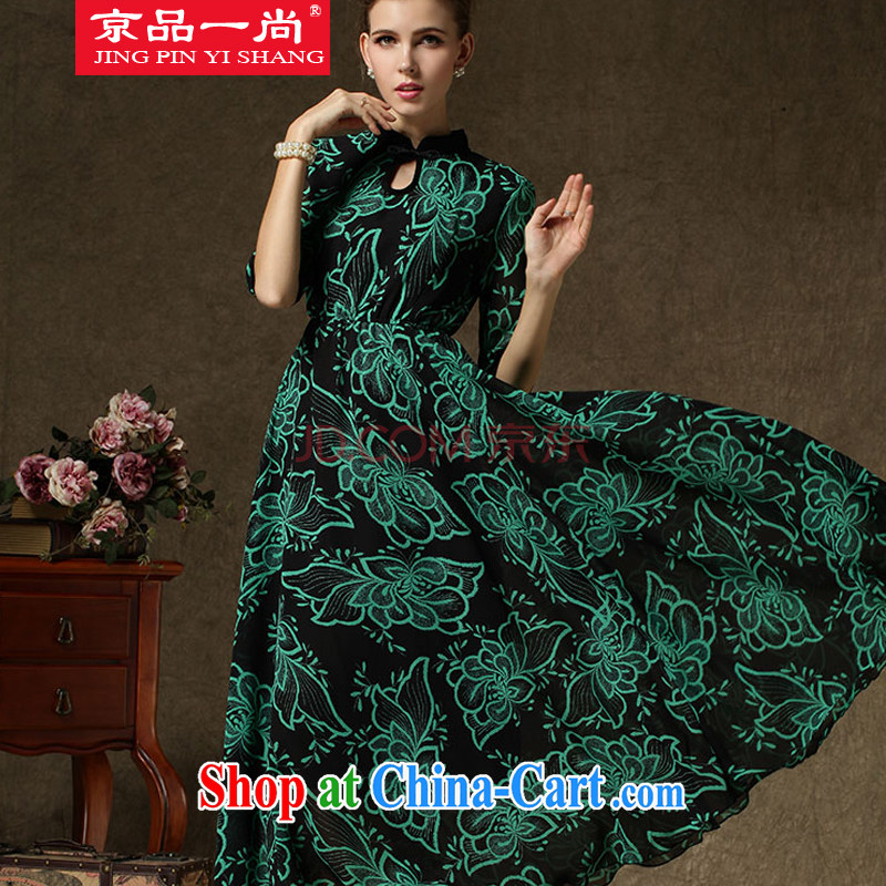 Beijing, a lady autumn and winter improved cheongsam, large retro skirt Ethnic Wind dress green M