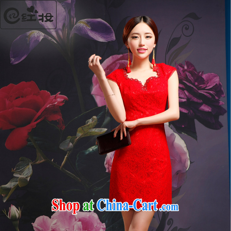 Recall that Namibia Red Cross spring and summer new marriage red lace cheongsam dress bridal short bows dress improved stylish V collar Q 14,713 red XL